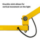 Vertical Hinge knuckle allows for up and down movement of light