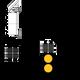 8 Inch Diameter LED Flashing Solar Powered Traffic Light - Dual Alternating