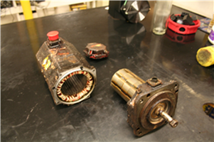 Motor disassembled for inspection