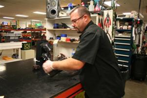 Technician servicing a motor