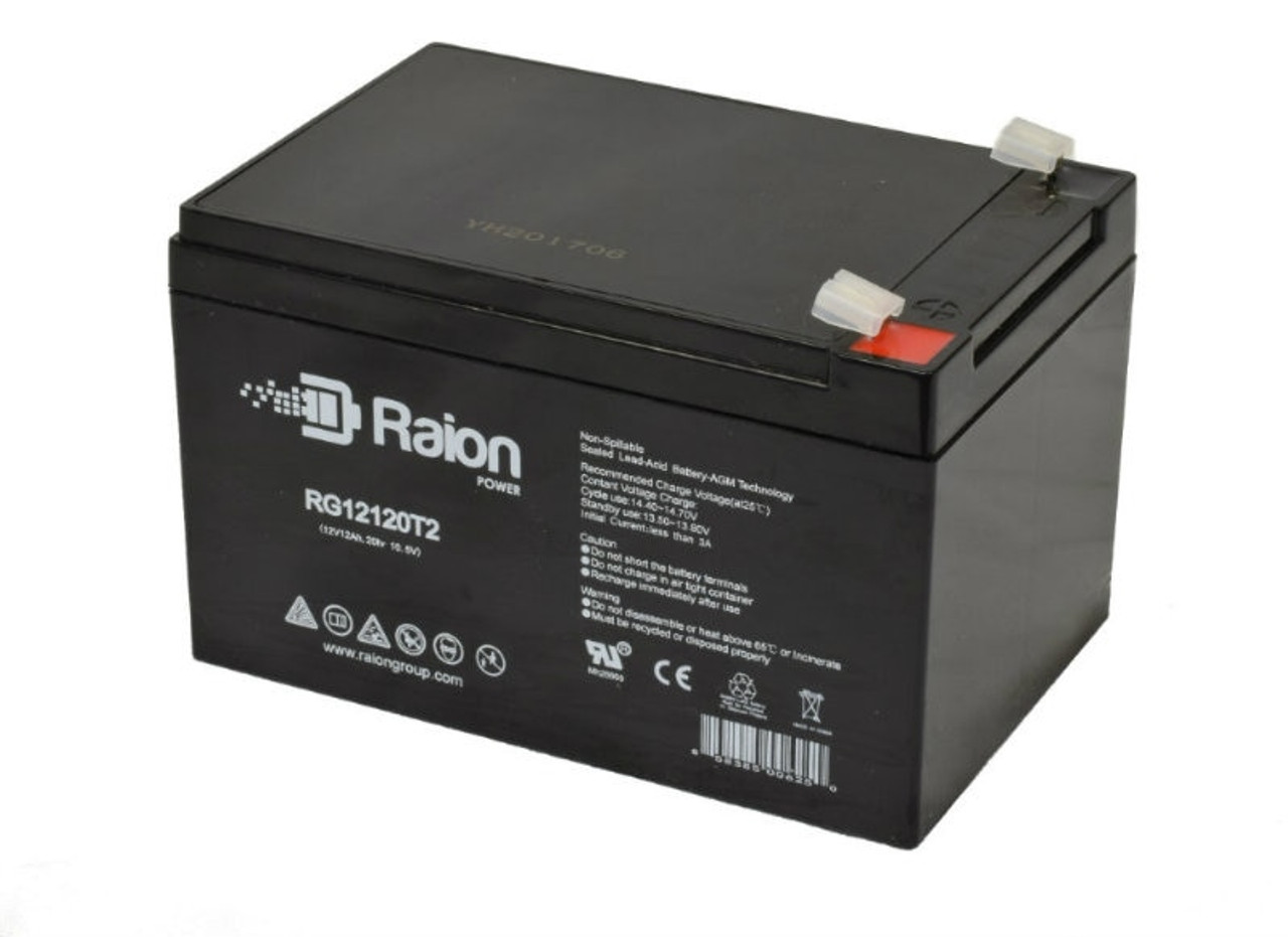 Raion Power RG12120T2 12V 12Ah Sealed Lead Acid Battery With T2 Terminals