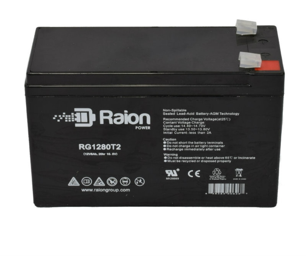 Raion Power RG1280T2 12V 8Ah Sealed Lead Acid Battery With T2 Terminals