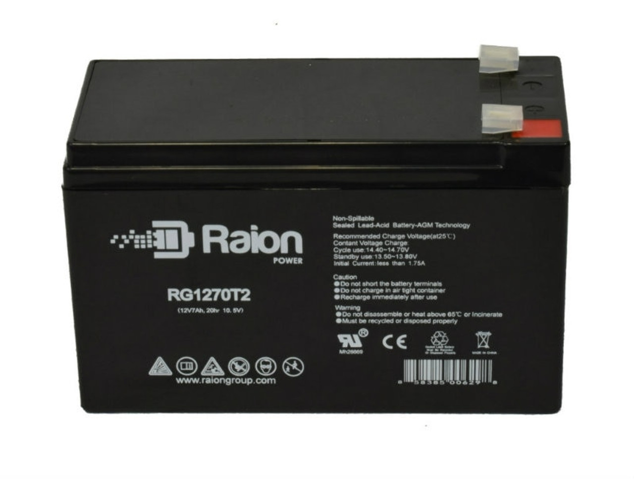 Raion Power RG1270T2 12 Volt 7 Amp AGM Battery With F2 Terminals