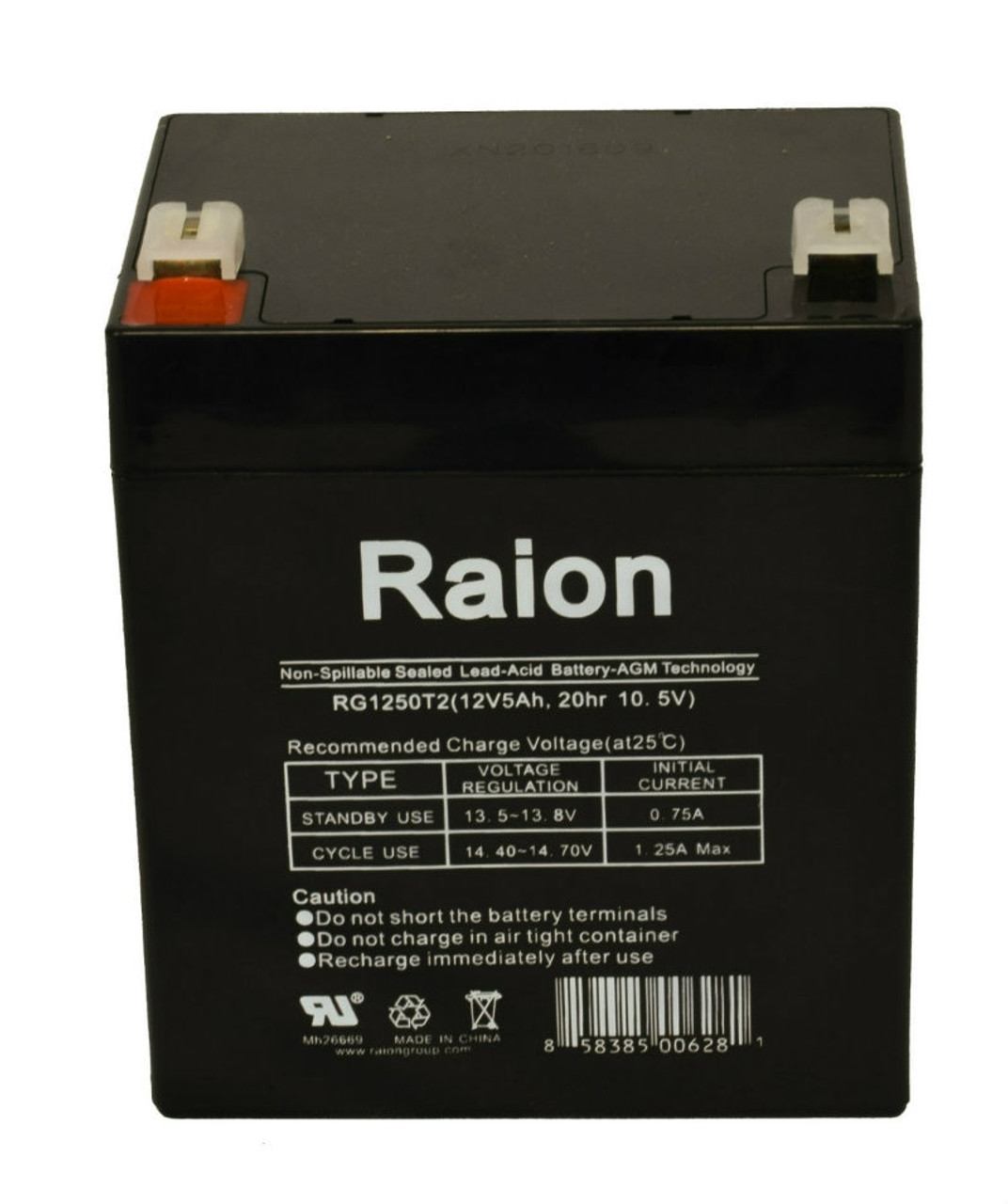 Raion Power RG1250T2 12 Volt 5 Amp AGM Battery With F2 Terminals