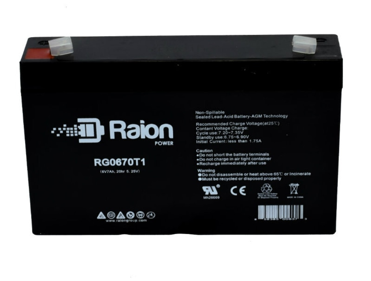 Raion Power RG0670T1 6 Volt 7 Amp AGM Battery With T1 Terminals