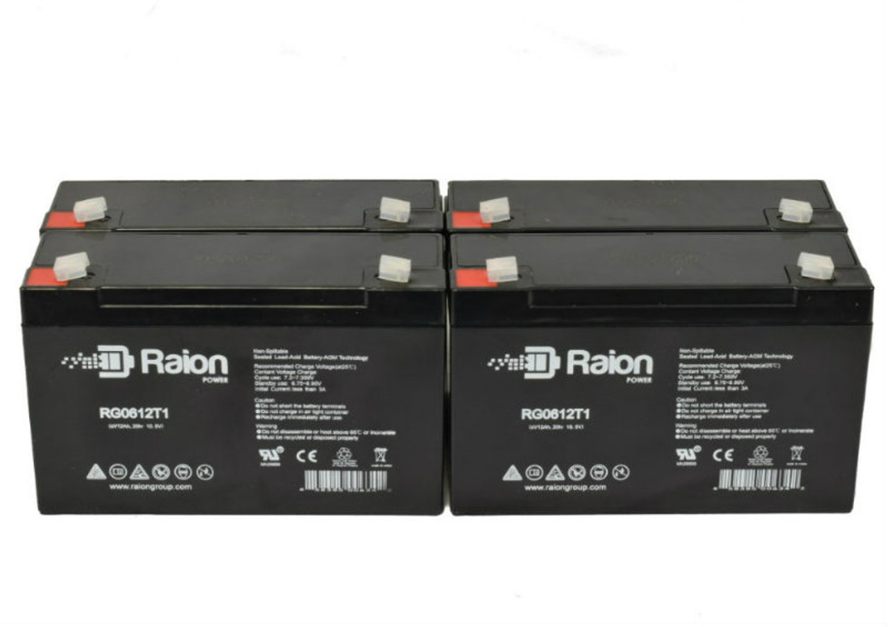 6V 12Ah RG06120T1 Replacement Battery for Holophane FH6 (4 Pack)