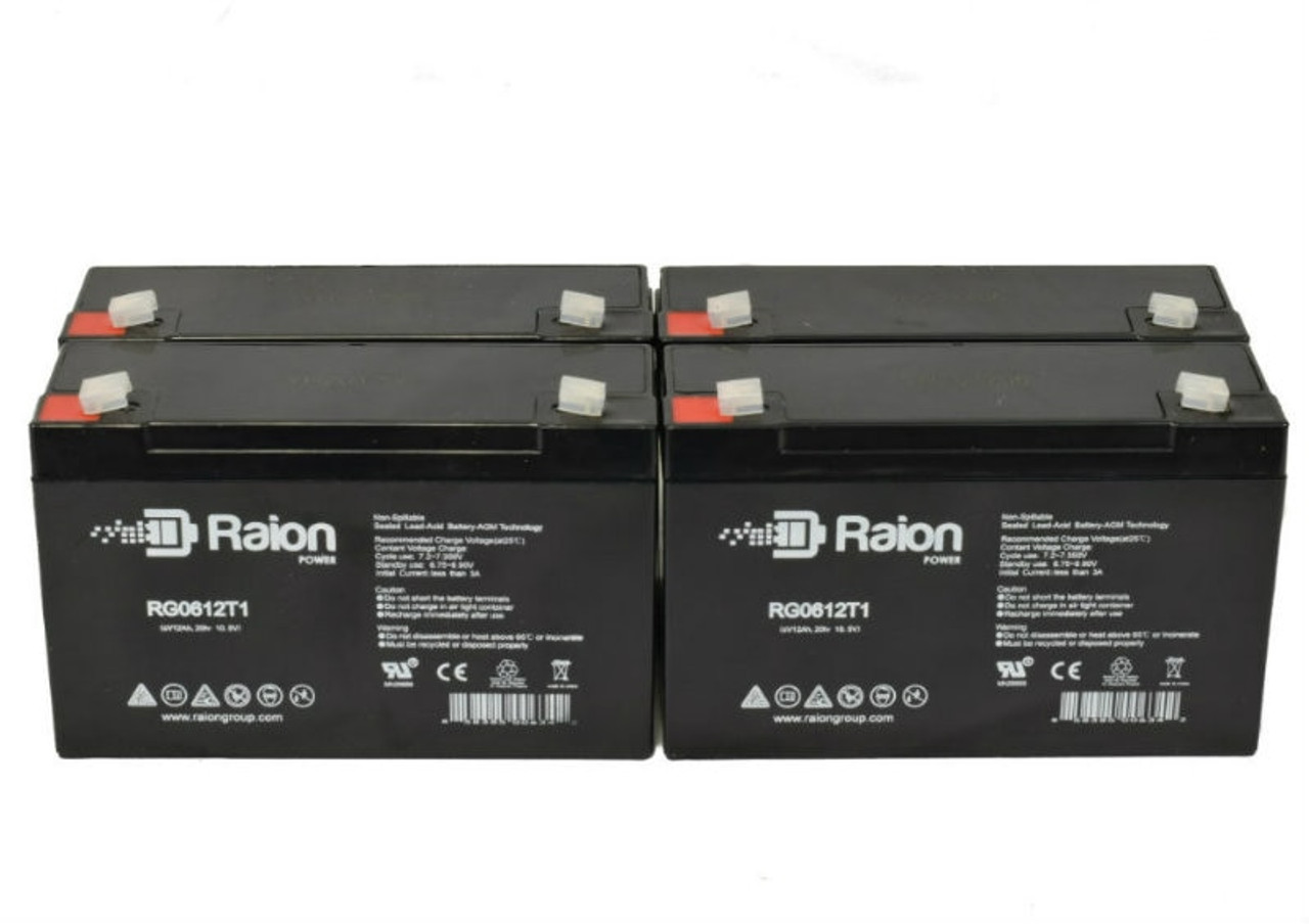 6V 12Ah RG06120T1 Replacement Battery for York-Wide Light MQ2E1 (4 Pack)