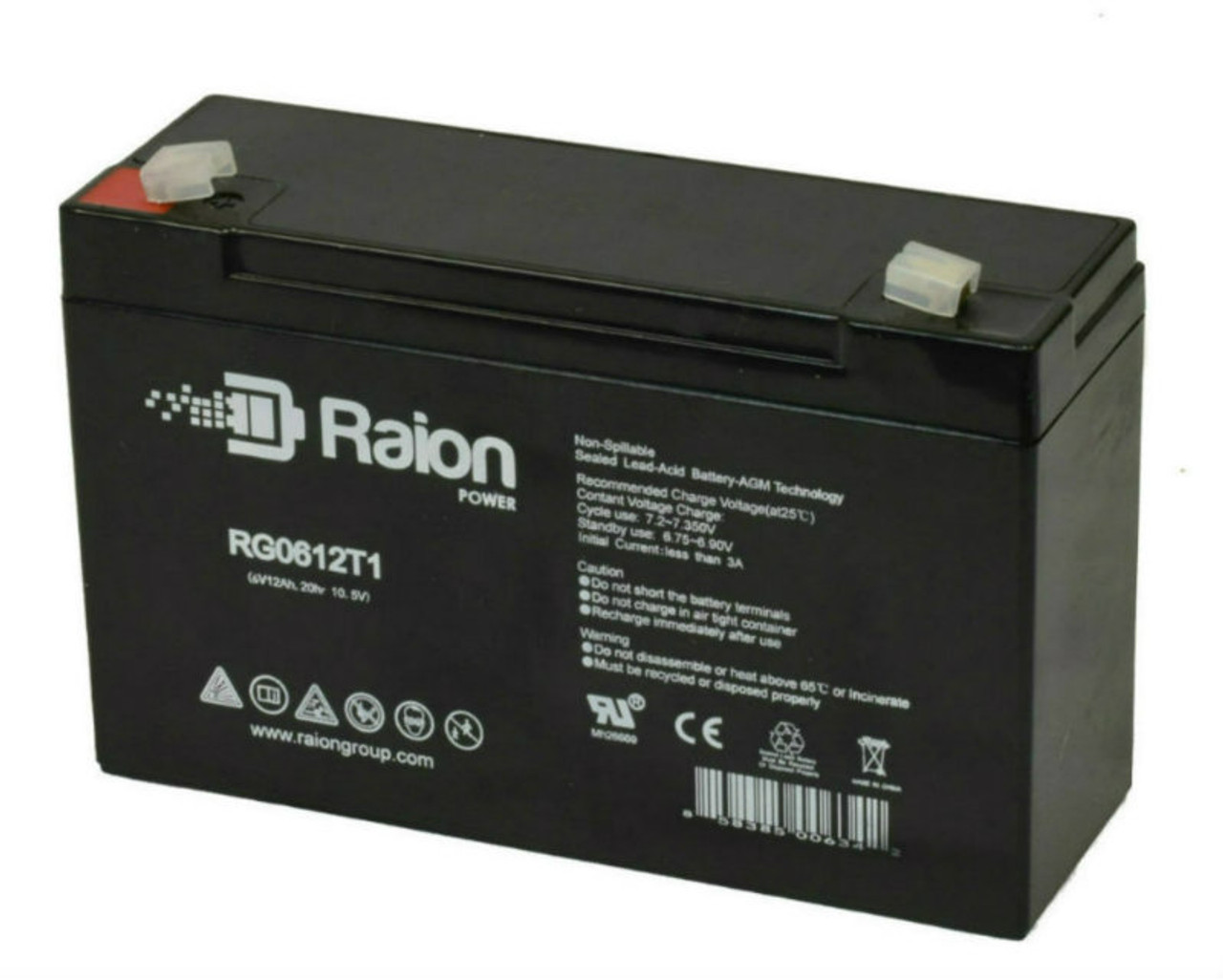 Raion Power RG06120T1 Replacement Battery Pack for Light Alarms PS10MP emergency light