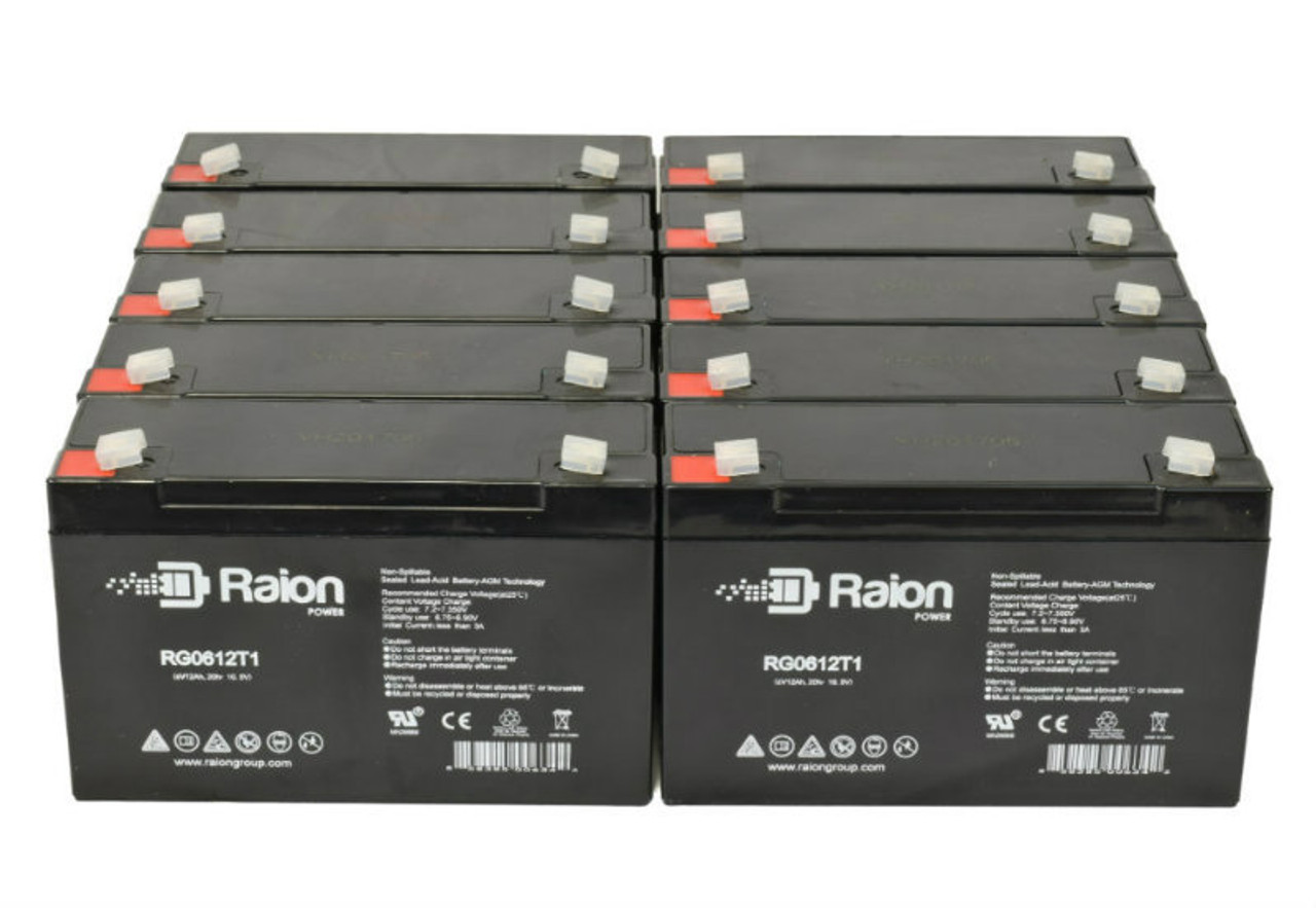 6V 12Ah RG06120T1 Replacement Battery for Dynaray S18169 (10 Pack)