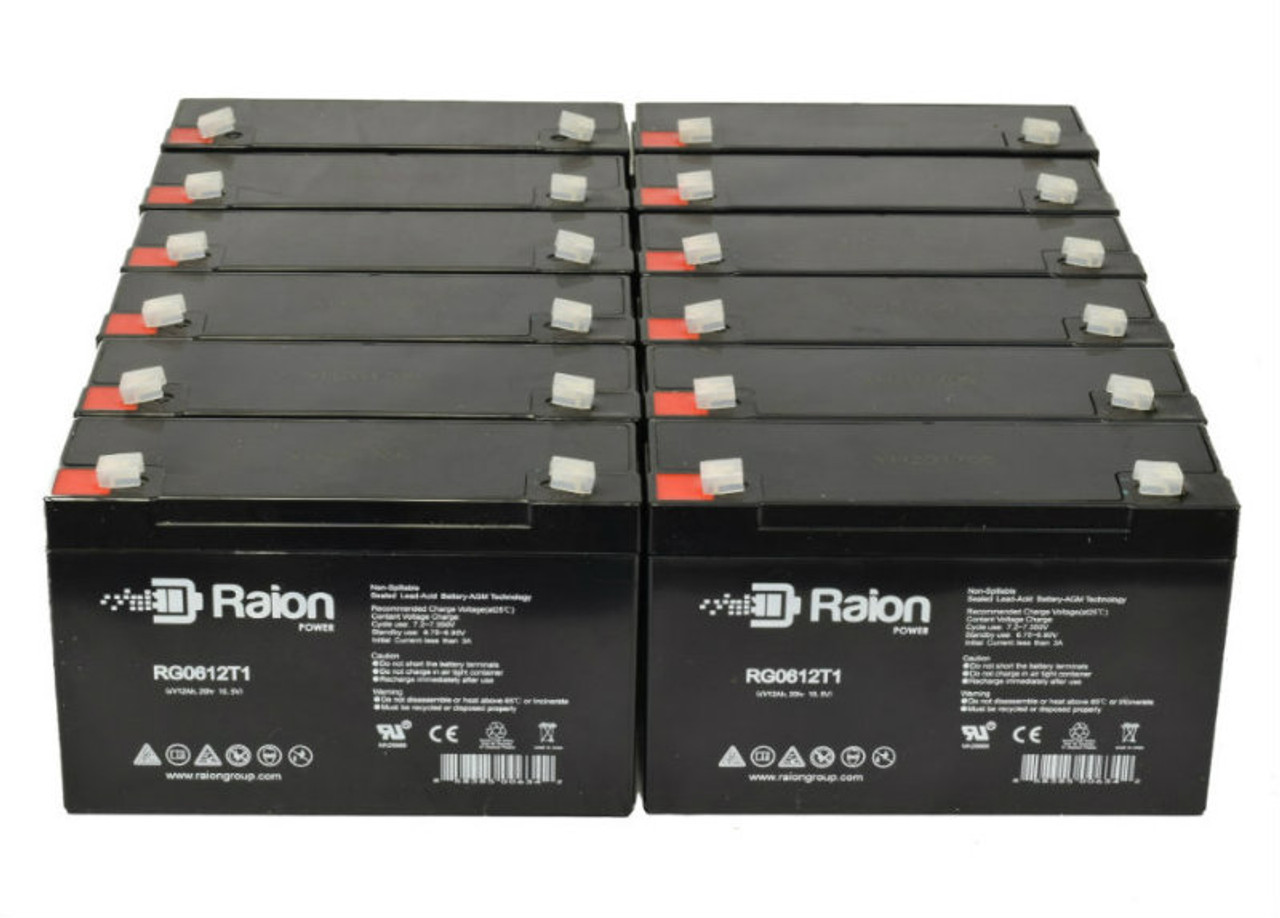6V 12Ah RG06120T1 Replacement Battery for Light Alarms P12G1 (12 Pack)
