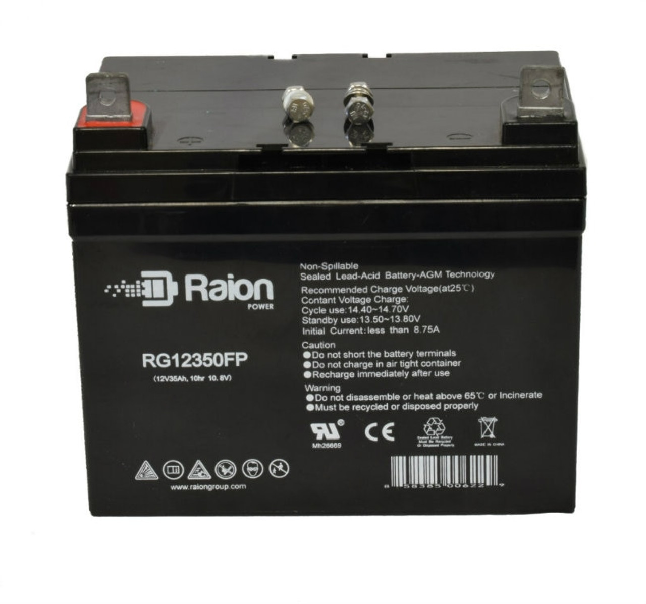 Raion Power RG12350FP 12 Volt 35 Amp AGM Battery With FP Terminals