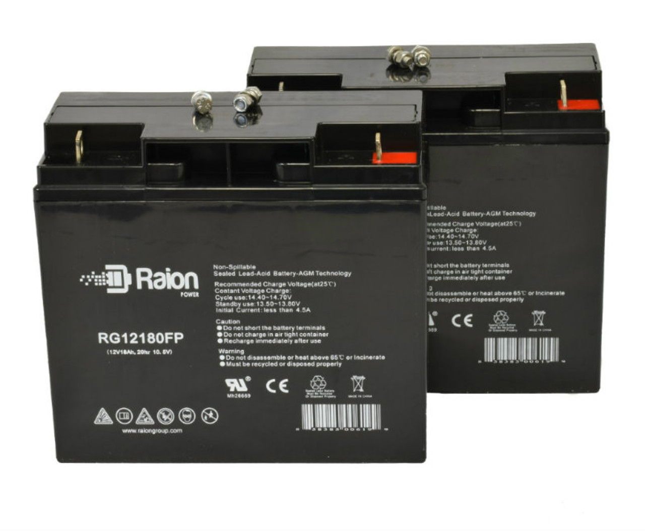 12V 18Ah Replacement Battery For Amigo RT Express Wheelchair (2 Pack)