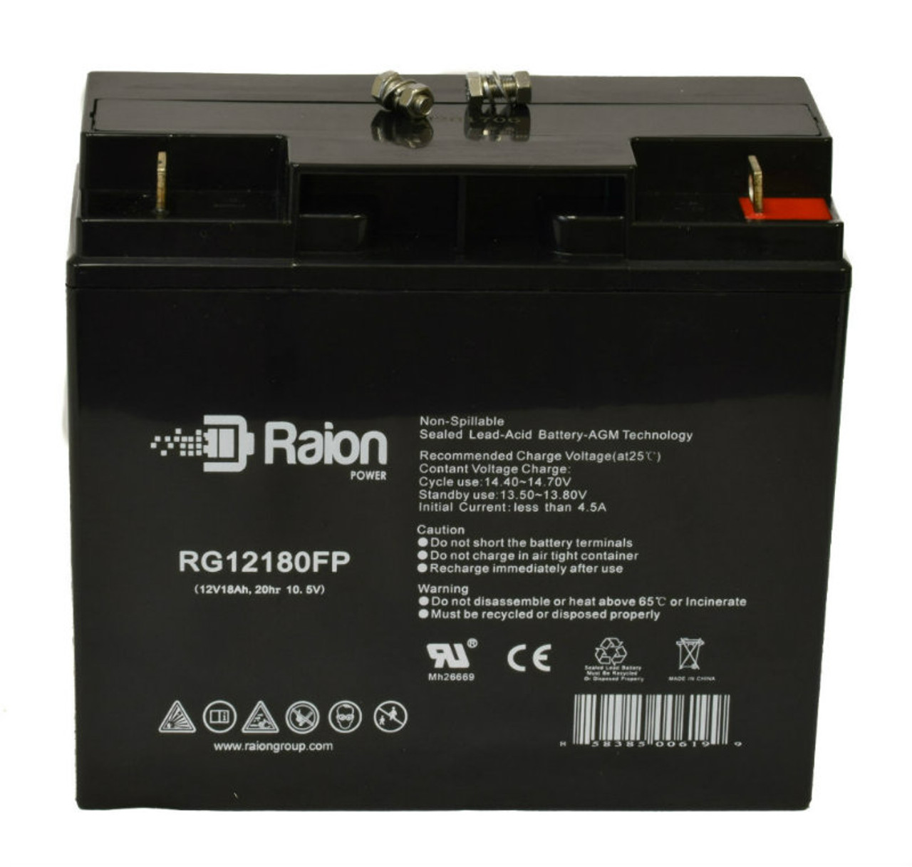 Raion Power 12V 18Ah AGM Battery Data Sheet for Bruno Typhoon Mobility Scooter