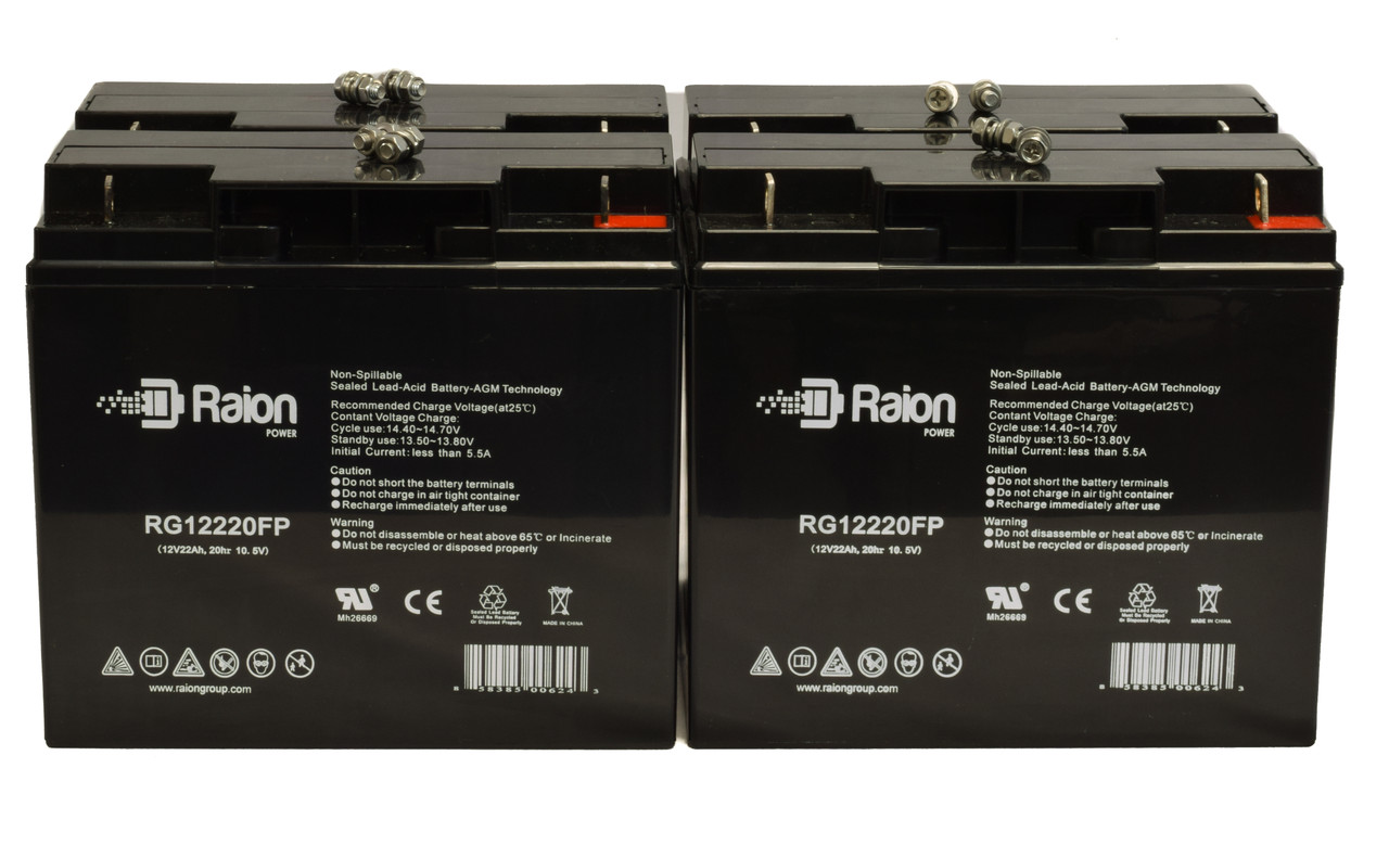 Raion Power RG12220FP Replacement Battery For Damaco Childs Elite (14x14) Wheelchair (4 Pack)