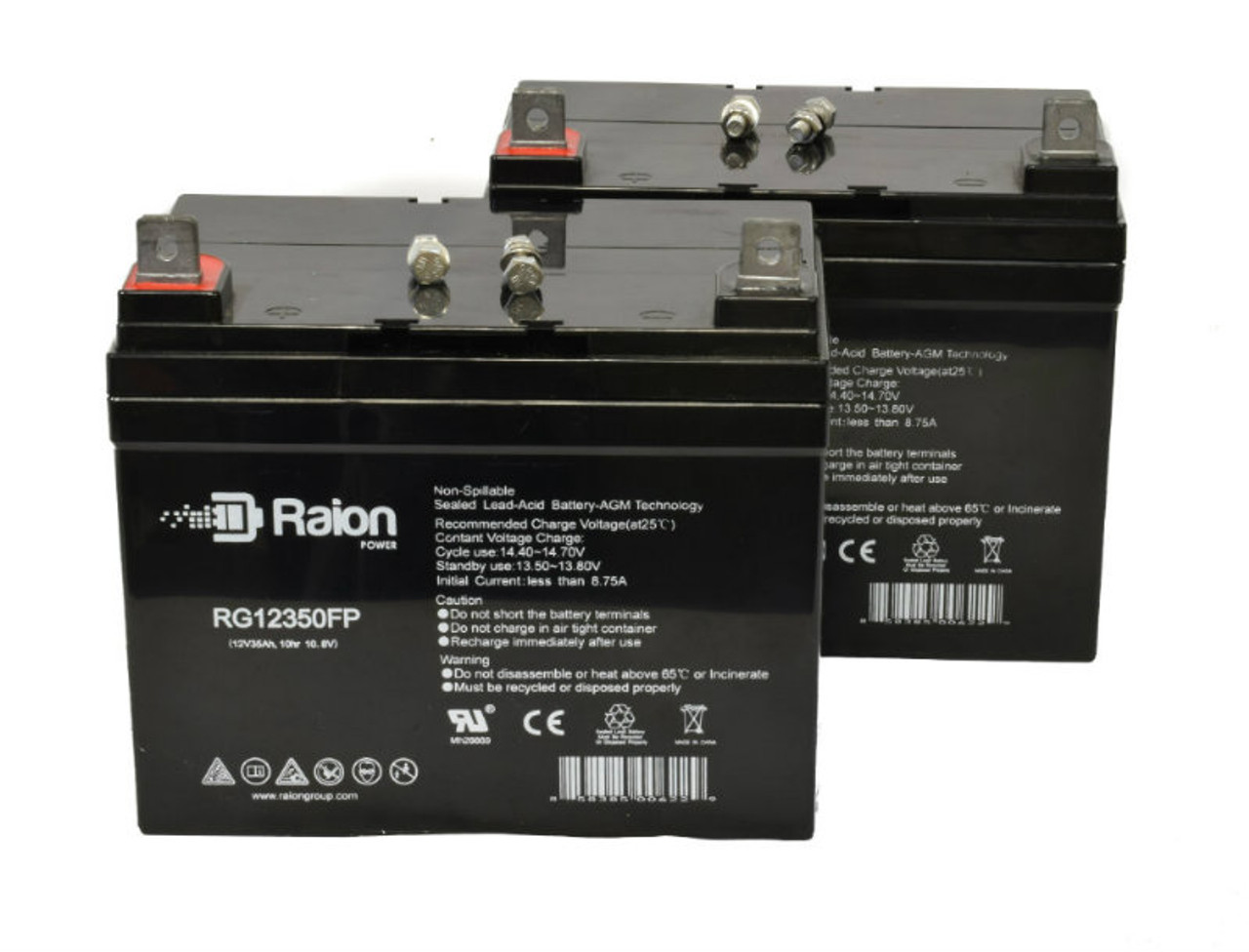 Raion Power RG12350FP Replacement Wheelchair Battery For Quickie Targa 14 Inch U1 AGM (2 Pack)