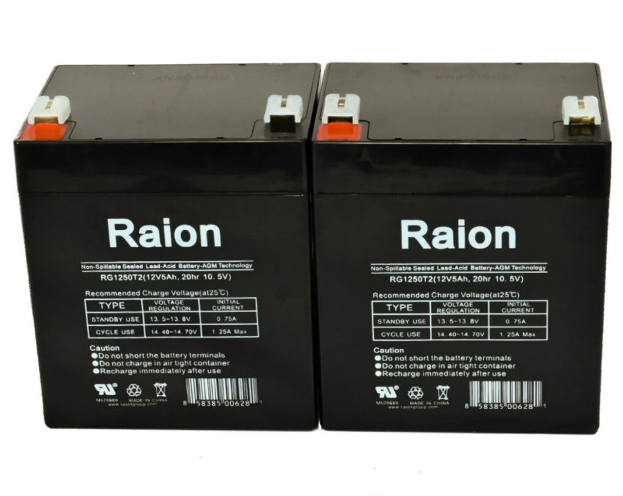 Raion Power RG1250T1 Replacement Battery for Yuasa NP5-12 - (2 Pack)