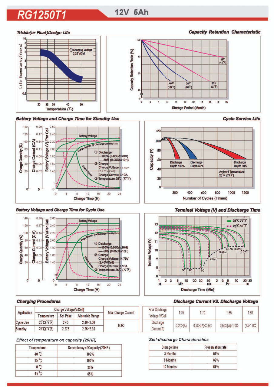 Raion Power RG1250T1 Battery Discharge Curves for Consent Battery GS124 - 4 Pack