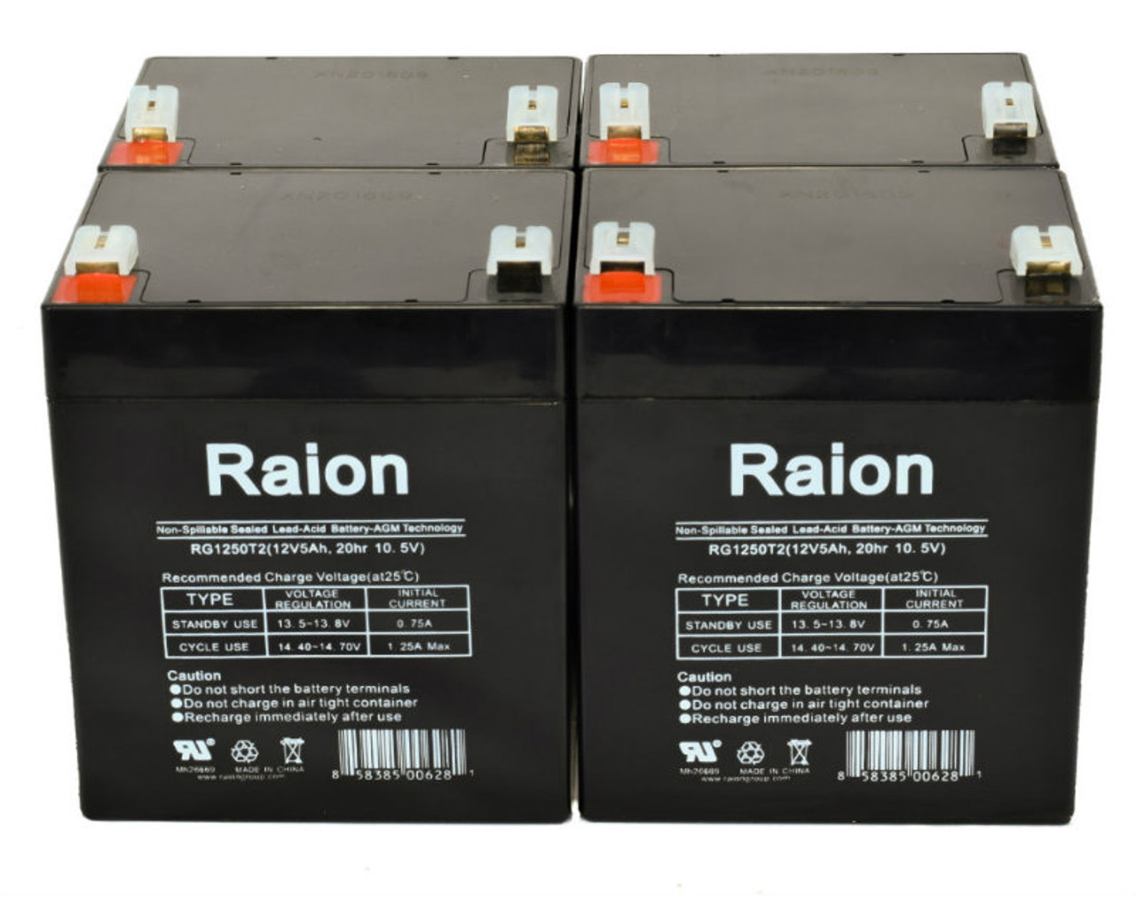 Raion Power RG1250T1 Replacement Battery for Yuntong YT-1250D - (4 Pack)