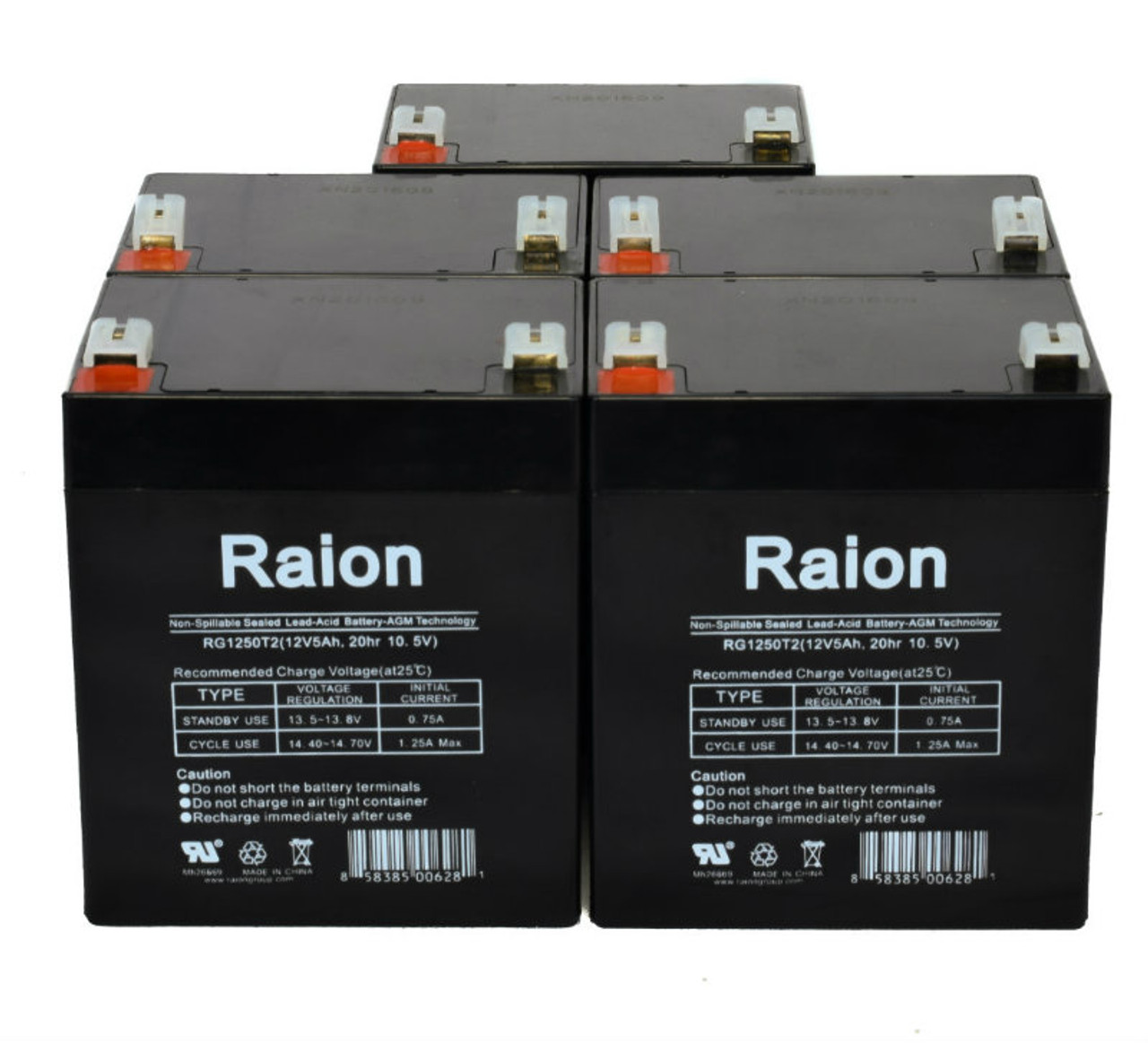 Raion Power RG1250T1 Replacement Battery for Rhino SLA4.5-12 - (5 Pack)
