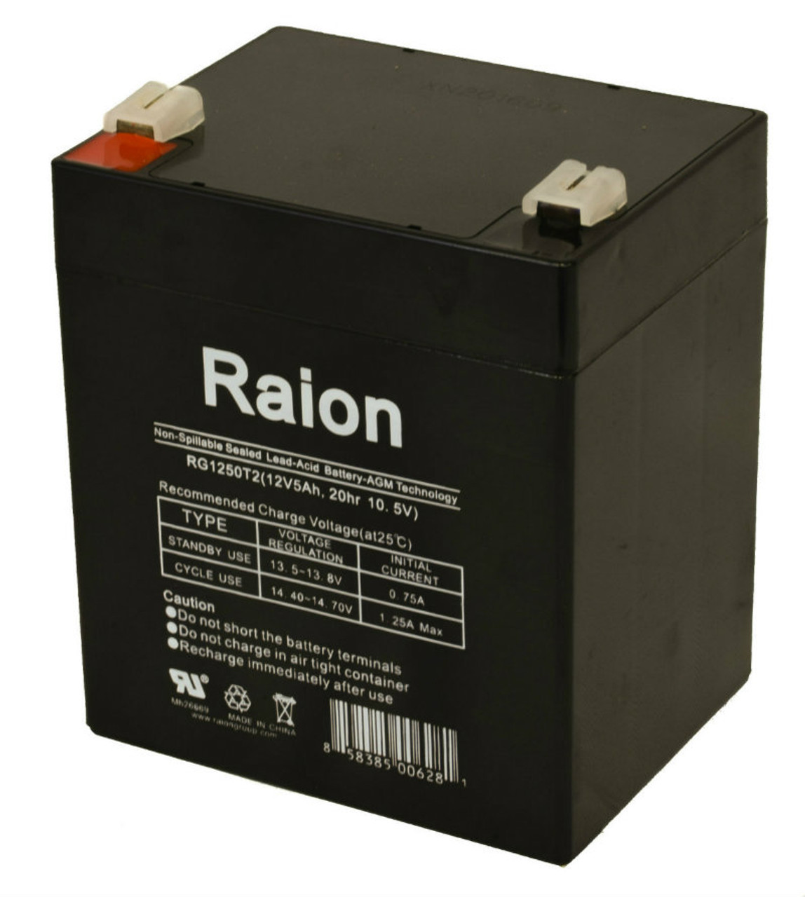 Raion Power 12V 5Ah SLA Battery With T1 Terminals For Leoch Battery LP12-4.5