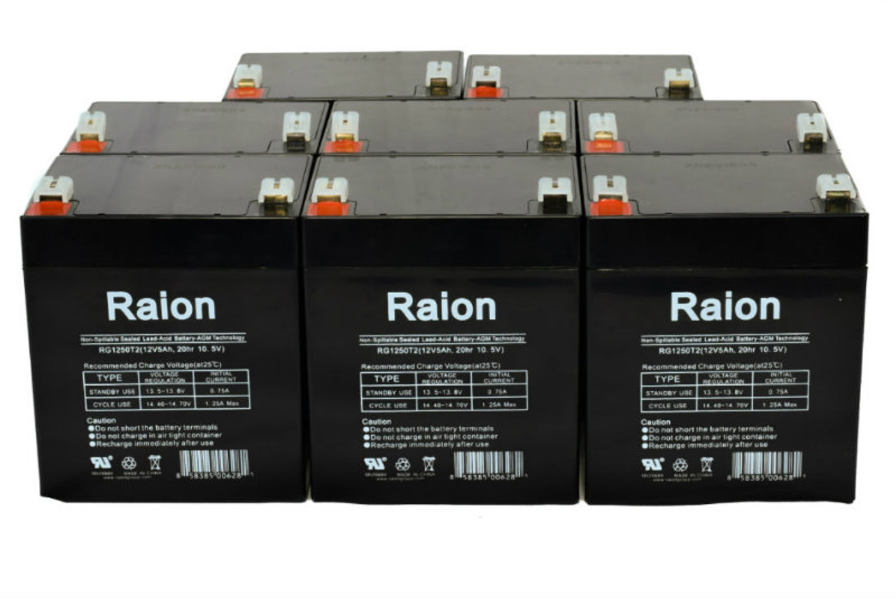 Raion Power RG1250T1 Replacement Battery for Rhino SLA4.5-12 - (8 Pack)