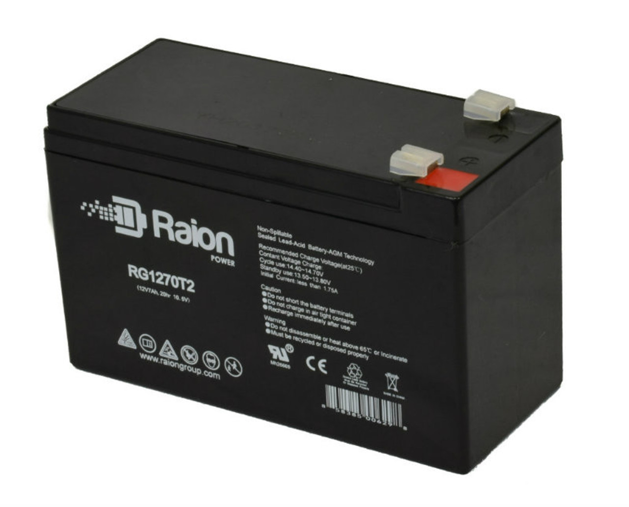 Raion Power 12V 7Ah SLA Battery With T1 Terminals For ExpertPower EXP1272