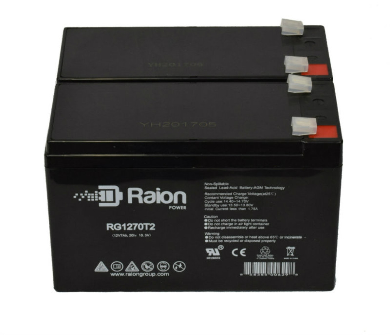 Raion Power RG1270T1 Replacement Battery Pack For Guardian DG12-7F - (2 Pack)