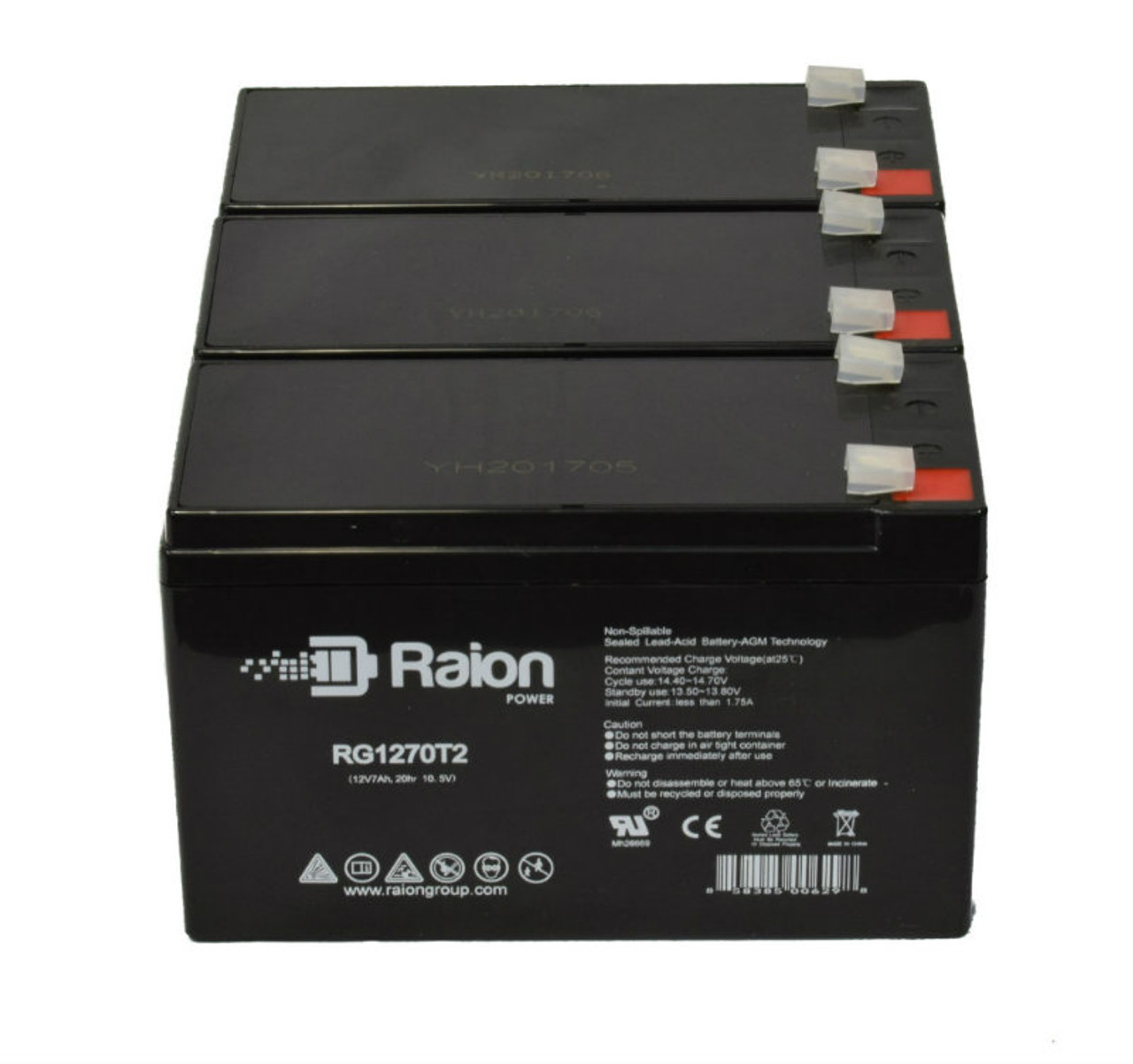 Raion Power RG1270T1 Replacement Battery Pack For Yuntong YT-1270 - (3 Pack)