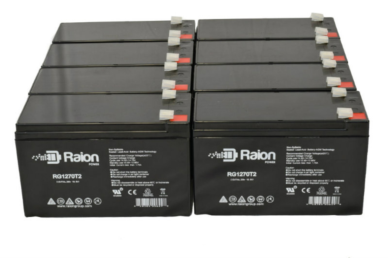 Raion Power RG1270T1 Replacement Battery Pack For Leoch Battery DJW12-7.2 - (8 Pack)