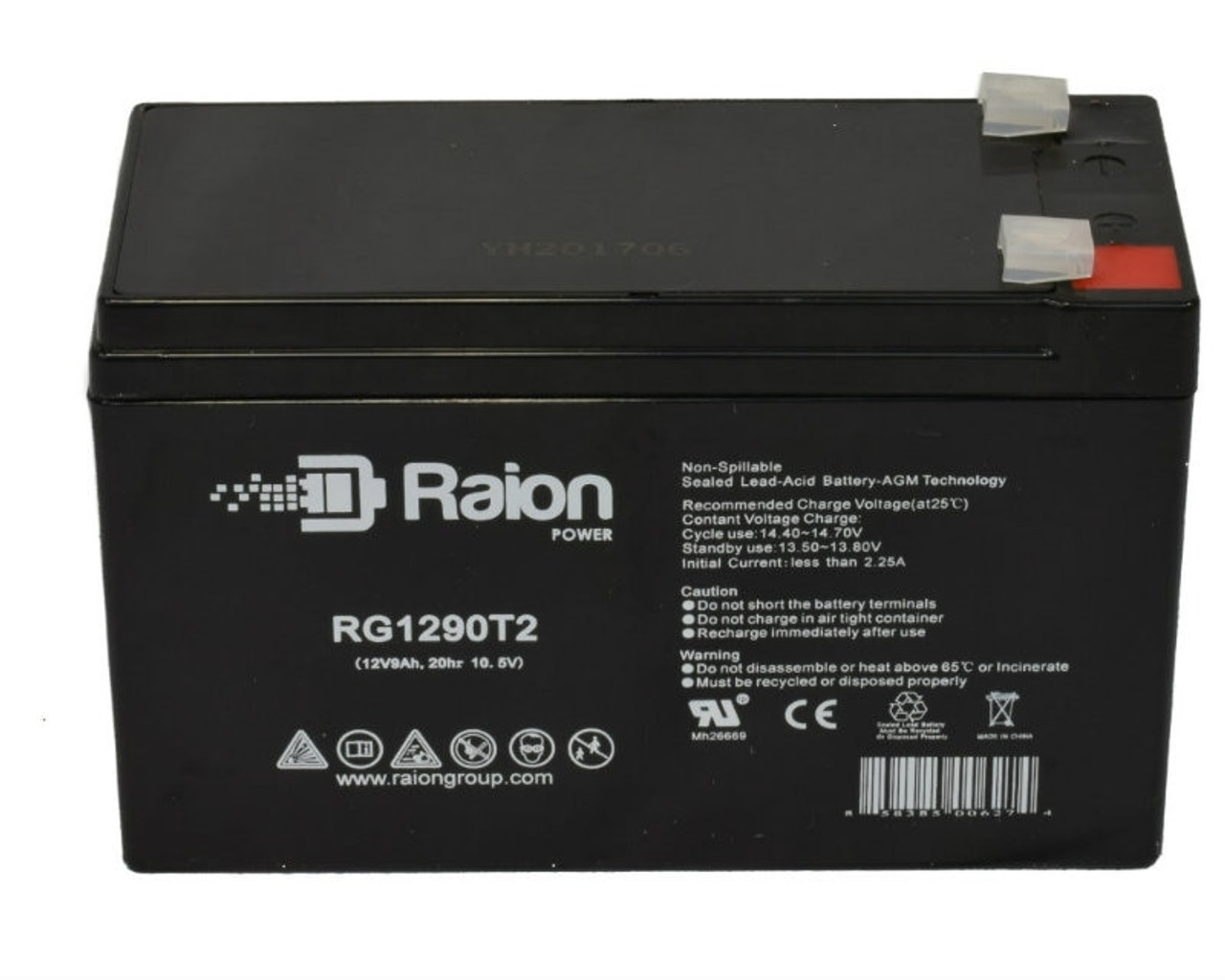 Raion Power 12V 9Ah SLA Battery With T2 Terminals For Potter Electric PFC-5008RG1290T2 Fire Alarm Control Panel