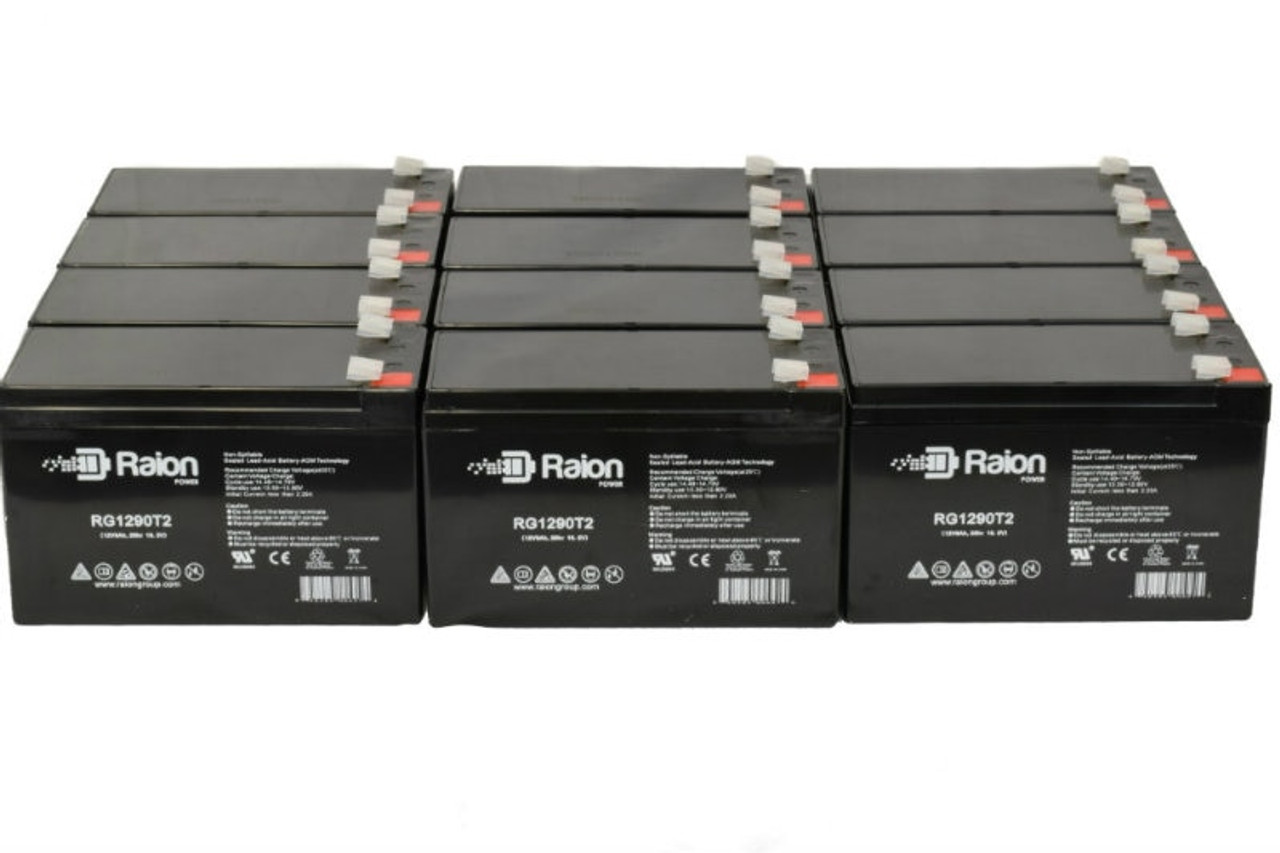 Raion Power 12 Volt 9 Ah Replacement Battery For Potter Electric PFC-7500RG1290T2 Fire Alarm Control Panel - (12 Pack)