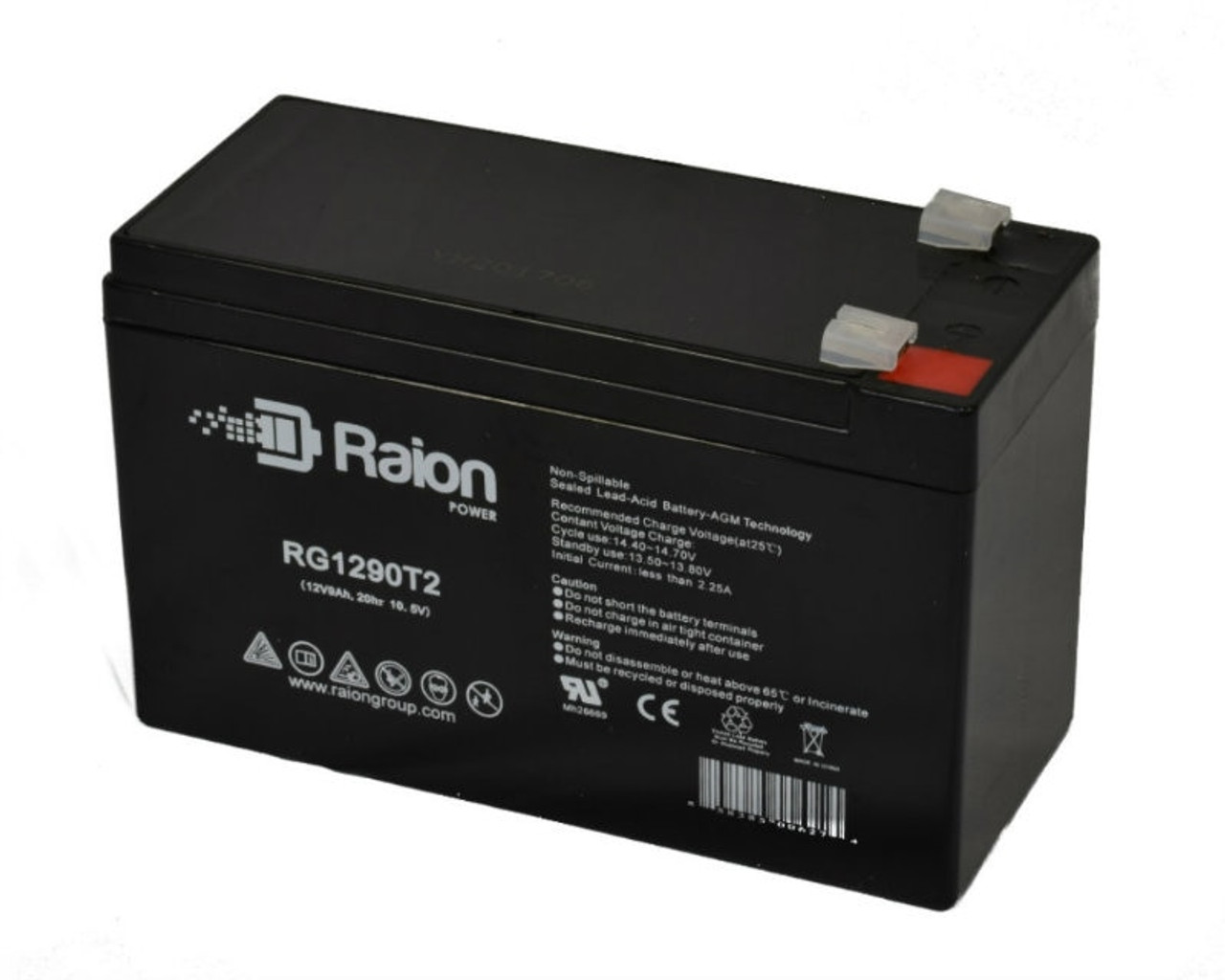 Raion Power RG1290T2 Replacement Battery for Potter Electric PFC-7500RG1290T2 Fire Alarm Control Panel