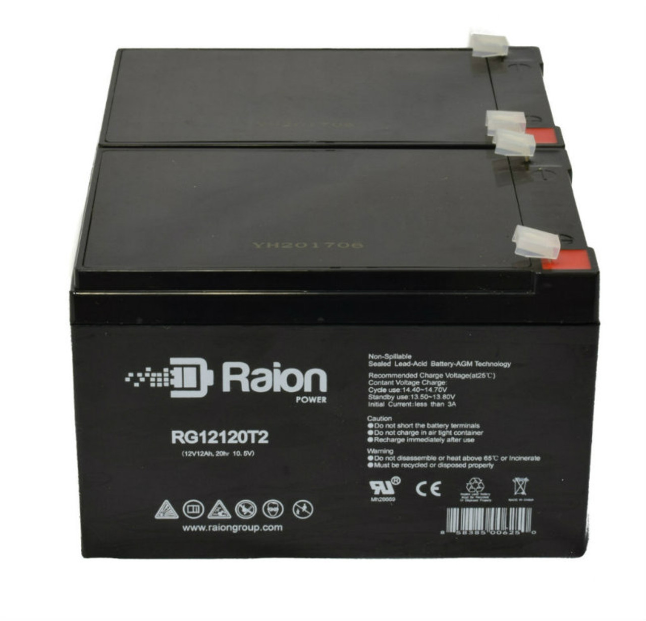 Raion Power RG12120T2 Replacement Battery Pack for Ademco 25360 Fire Alarm Control Panel (2 Pack)