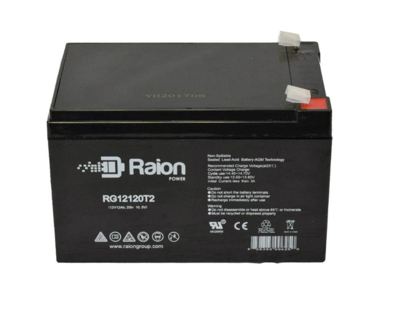 Raion Power RG12120T2 12V 12Ah Battery for Ademco PWPS12120 Fire Alarm Control Panel