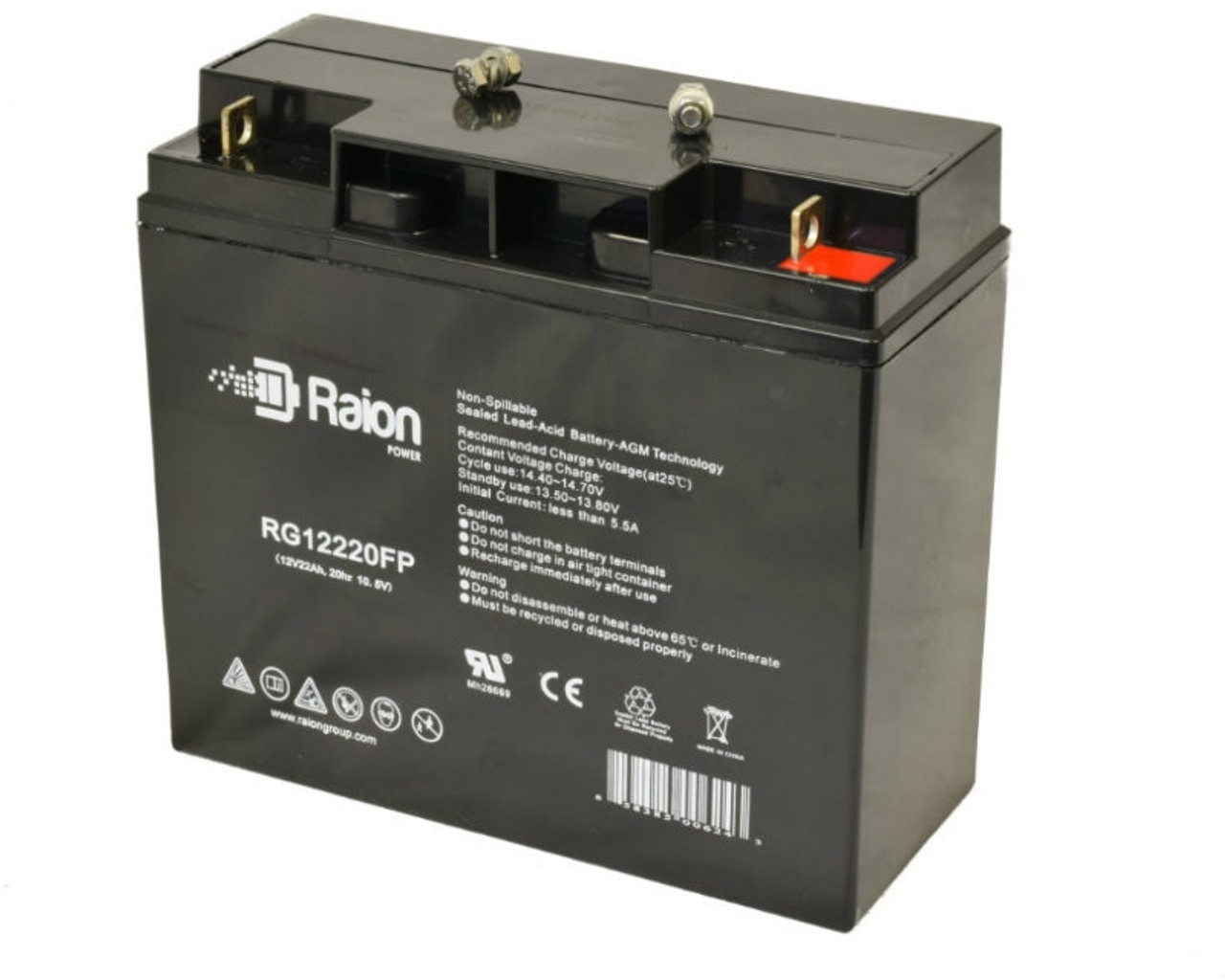 Raion Power RG12220FP Replacement Battery for Silent Partner Edge Tennis Ball Machine Large