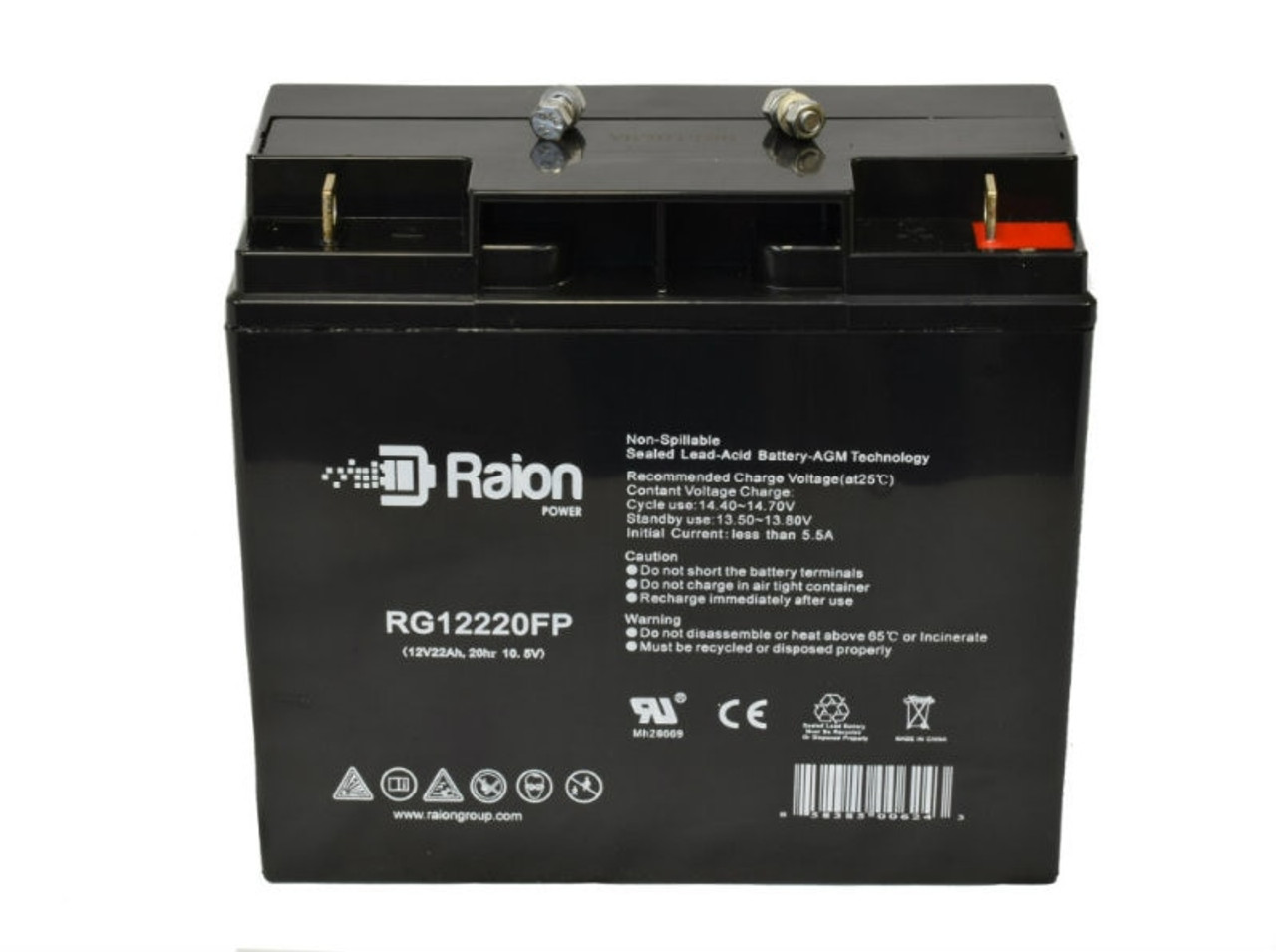 Raion Power 12V 22Ah SLA Battery With FP Terminals For Silent Partner Star Tennis Ball Machine Large