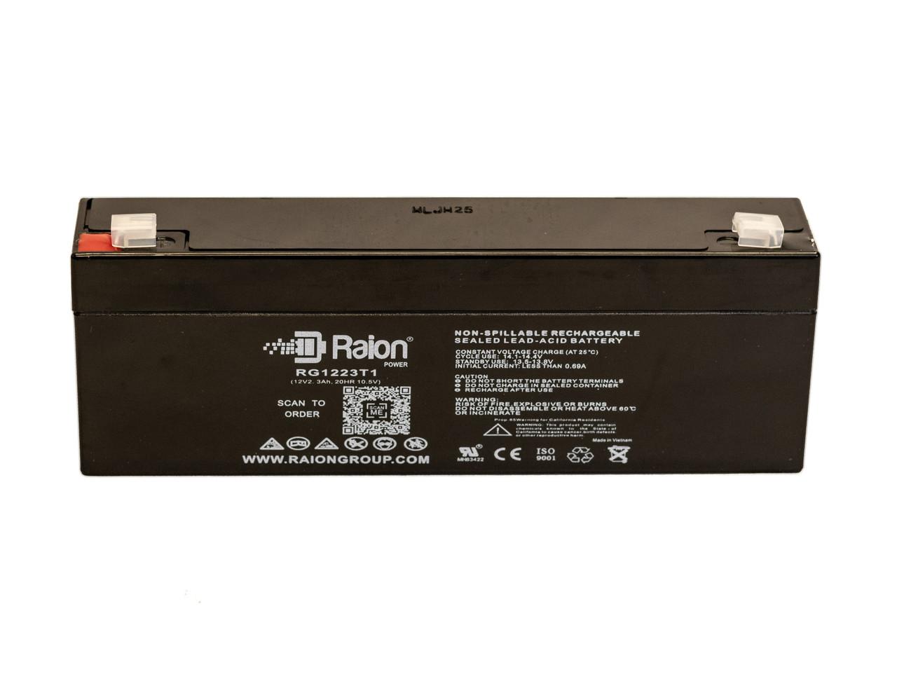 Raion Power 12 Volt 2.3Ah RG1223T1 Replacement SLA Battery With T1 Terminals