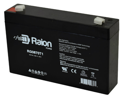 Raion Power RG0670T1 Replacement Battery for Dynaray 12DR707 emergency lighting unit
