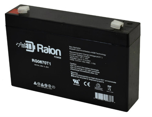 Raion Power RG0670T1 6V 7Ah Sealed Lead Acid Battery With T1 Terminals