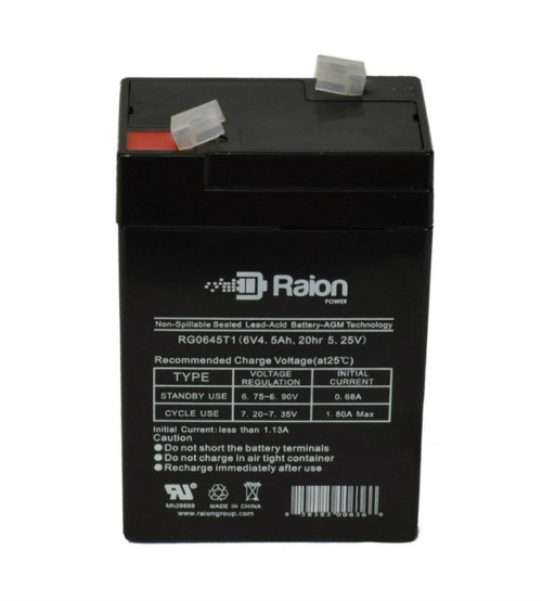 Raion Power RG0645T1 6 Volt 4.5 Amp AGM Battery With T1 Terminals