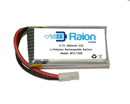 Raion Power RP3P7380 3.7 Volt 380 mAmp Lithium Polymer Drone Battery
