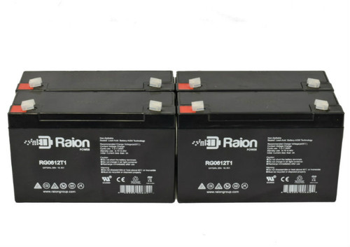 6V 12Ah RG06120T1 Replacement Battery for Holophane EC12 (4 Pack)