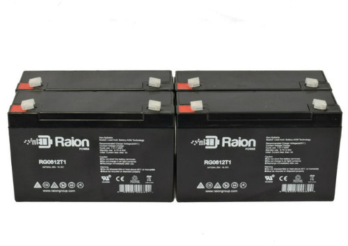 6V 12Ah RG06120T1 Replacement Battery for Perfect Light ELC200 (4 Pack)