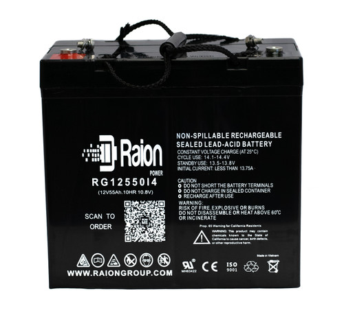 Raion Power RG12550I4 12 Volt 55 Amp AGM Battery With I4 Terminals