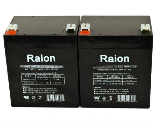 Raion Power RG1250T1 Replacement Battery for Long Way LW-6FM4.5J - (2 Pack)