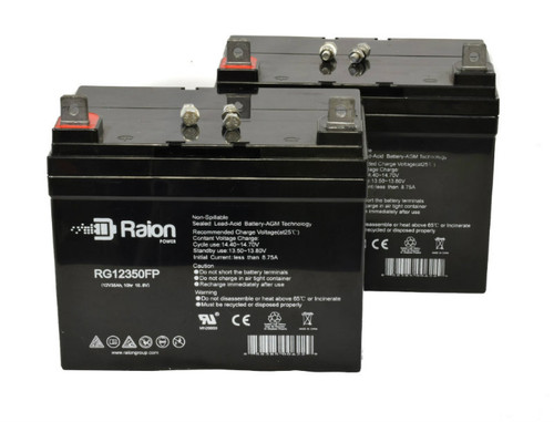 Raion Power RG12350FP Replacement Battery For Hustler 2500 RIDER Lawn Mower - (2 Pack)