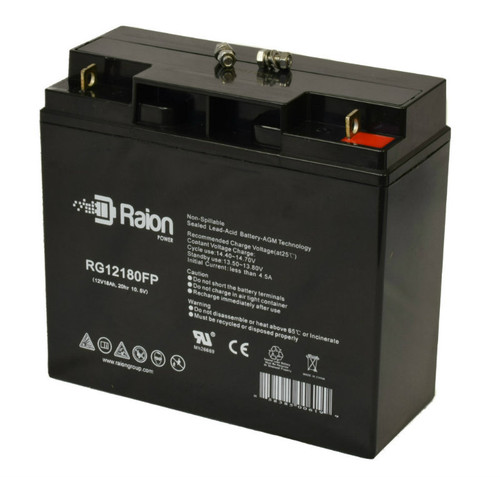 Raion Power 12V 18Ah SLA Battery With FP Terminals For Chicago Electric 40615 Jump Starter