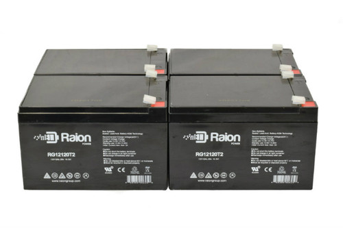 Raion Power RG12120T2 Replacement Battery Pack for Ademco 25360 Fire Alarm Control Panel (4 Pack)