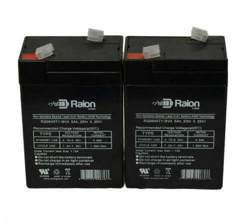 Raion Power RG0645T1 Replacement Battery For Bird Products Corp Avain Portable Ventilator (2 Pack)