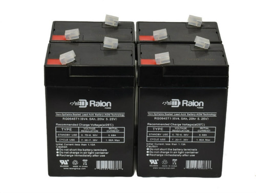 Raion Power RG0645T1 Replacement Battery For Monaghan Medical Respiratory Therapy Unit (4 Pack)